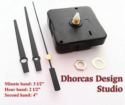 """(#08) Quartz Clock Movement kit, 1/4"""" threaded quiet motor and black 3.5"""" hand"""