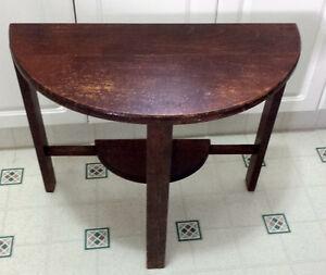 Vintage Art Deco side table, half-round