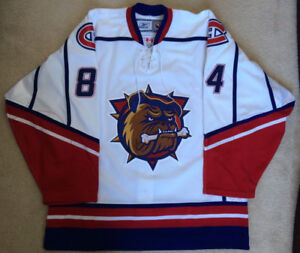 Hamilton Bulldogs White Locke Customized Team Issued Jersey AHL