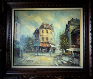 "Old Paris Street Scene by Caroline Burnett ""Corner Shop"" 1950's"