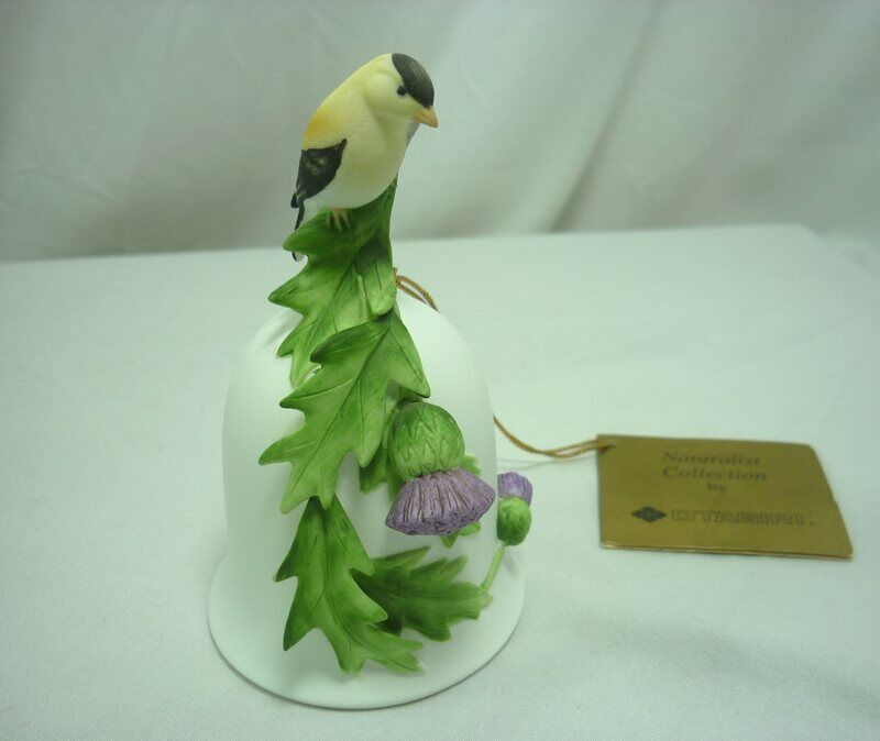 Otagiri Yellow Finch with Purple Thistle Bell Naturalist Collection 21E002