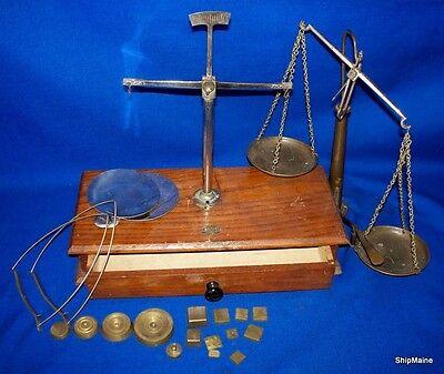 Antique Merchant Balance Scale Box Top Mount Weights Box Mixed Lot