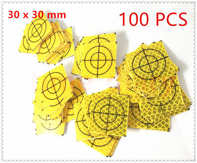 100pcs Yellow Reflector Sheet 30x30mm Reflective Target For Total Station