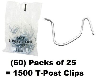 60 Ea Mat 901169b 25 Packs T-post Fence Post Clip Fasteners