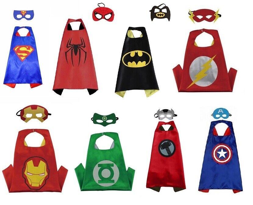 Kinder Kostüm 🎃 Halloween Fasching Batman 🦇 Superman Spiderman Umhang + Maske
