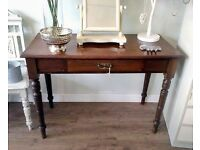 Edwardian Walnut & Mahogany Console table with a single drawer & turned legs