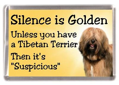"Tibetan Terrier Dog Fridge Magnet ""Silence is Golden.........."" by Starprint"
