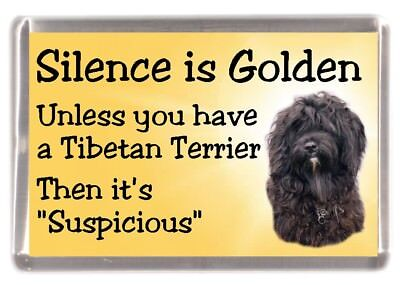 """Tibetan Terrier (Black) Dog Fridge Magnet """"Silence is Golden ...."""" by Starprint"""
