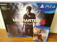 New sealed ps4 slim 500gb Uncharted 4 & Battlefield 1!