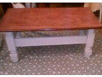 stripped oak and painted coffee table