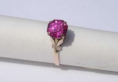 3.4 Carat Asscher Ruby Antique 18k Yellow GOLD ring - Vintage design - Size 6.75