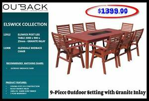 NEW 9 Piece Outdoor Setting 'w' Granite Inlay FINANCE AVAILABLE** Toowoomba Toowoomba City Preview