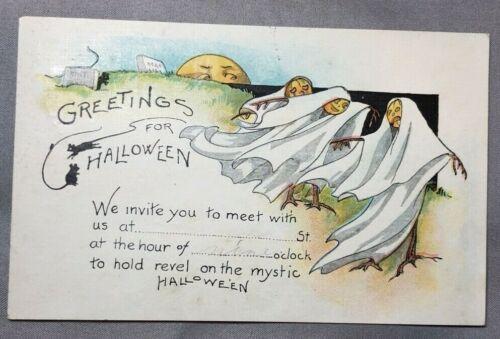 1920s HALLOWEEN GHOST Goblin JOL Jack O Lantern POSTCARD Invitation Series 297