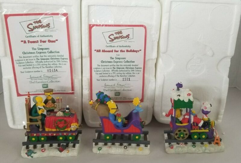 The Simpsons Christmas Train Express Collection Lot Of 3