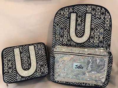 Justice Backpacks For Kids (Justice for Girls Denim Aztec Set ~Backpack & Lunch Tote Letter