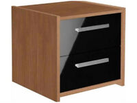 New Sywell 2 Drawer Bedside Chest - Walnut & Black Gloss