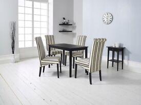 SPECIAL OFFER, LOWER PRICE, DINING TABLE, 4 CHAIRS, FABRIC, BLACK MATT, DELIVERY AVAILABLE