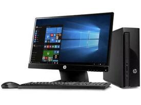 HP Slimline 411-a000na Desktop PC+ Monitor Intel Pentium 1.6GHz 4GB RAM 1TB HDD Windows10