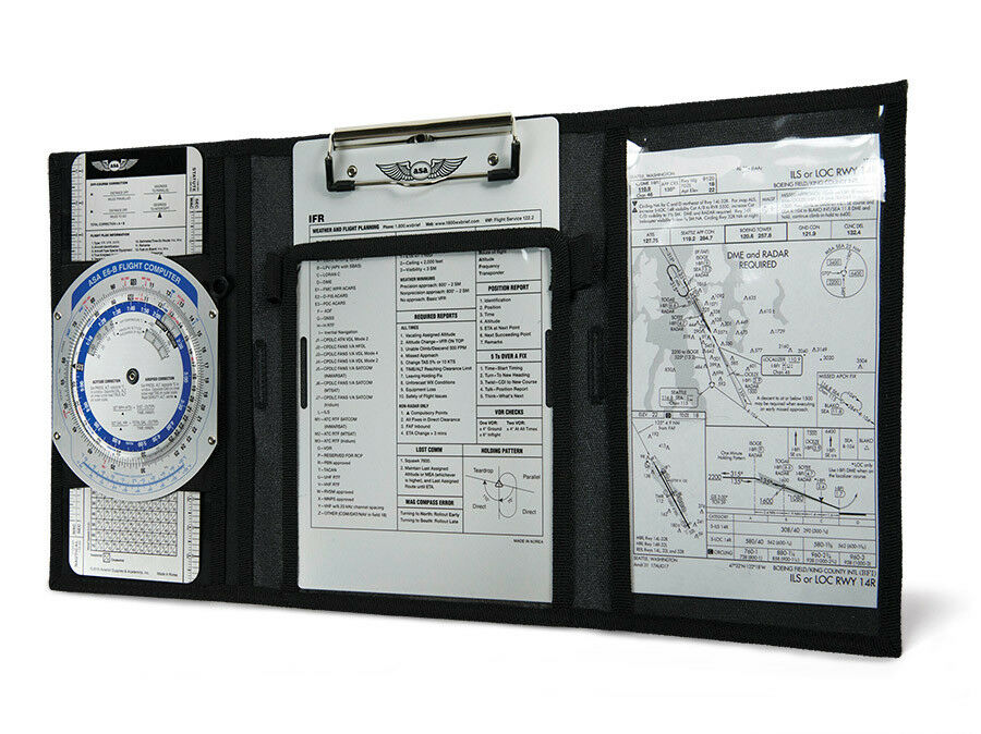 Flyboys IFR//VFR Pilot Kneeboard w// Clip FB1316 Military or Civilian Black