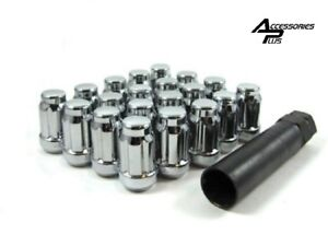 SET OF (20) AND (1) KEY 12X1.5 CHROME SPLINE TUNER 6 SPLINE LOCK LUG NUT #AP5655