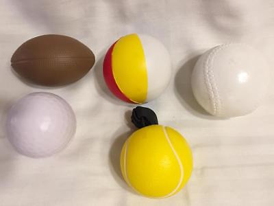 5 Sports Balls - Football Baseball Golf Tennisl Beach Ball Stress Foam Squeezie - Baseball Beach Balls