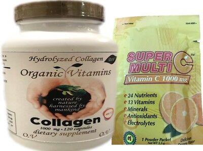 120 Hydrolized Collagen organic Vitamin C  hidrolizado colageina 10, colageno    Organic Vitamin C