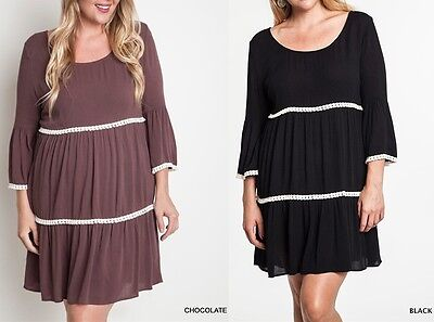 Umgee Plus Size (XL, 1XL, 2XL) Bell Sleeve Tiered Peasant Dress - Belle Peasant Dress