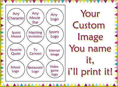 ANY CUSTOM picture edible wafer cookie toppers image cupcake tops birthday  - Birthday Painting