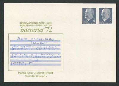 DDR GA PP PRIVAT-GANZSACHE INTERARTES 1972 BRECHT EISLER SOLIDARITÄTSLIED d8273