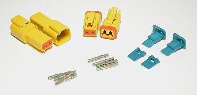 2 x AMPhenol AT Yellow 2-Pin Connector Kit, 14-16AWG Solid Contacts, USA
