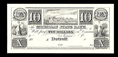 ABNC PROOF PRINT $10 MICHIGAN STATE BANK DETROIT OBSOLETE BANKNOTE
