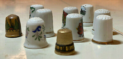Miniature House Thimbles Set of Three Farms Porcelain China Collectable
