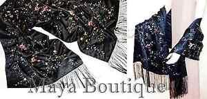 Huge-Embroidered-Silk-Satin-Wrap-Opera-Shawl-Scarf-Black-Multi-Floral-Maya-New