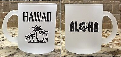 Frosted Glass Coffee Tea Mug Cup 10 oz Aloha Hawaii Tropical Island Great Gift