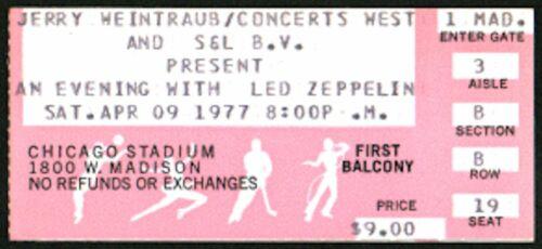 LED ZEPPELIN-John Bonham-1977 RARE Concert Ticket Stub (Chicago Stadium)