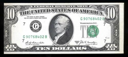 1969 Misalignment Error $10 Dollar Small Federal Reserve Note