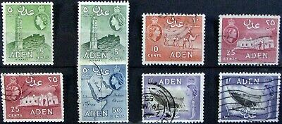ADEN #48a-55A: F/VF MH/Used 'QEII Pictorial Partial Set