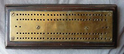 CRIB CRIBBAGE BOARD - OLD ANTIQUE MADE FROM WOOD & BRASS - NICE PATINA
