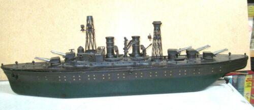 VINTAGE ROLLED METAL  ORKIN- TEXAS BATTLESHIP  30 INCHES. CLOCK WORKS CIRCA 1920