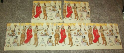 Vintage DENNISON ? Santa / Thanksgiving TABLE SKIRT CREPE PAPER DECORATION Lot