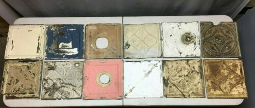 "12 Antique 12"" Sq. Tin metal Ceiling RePurpose Crafts Art Projects Vtg 155-20B"