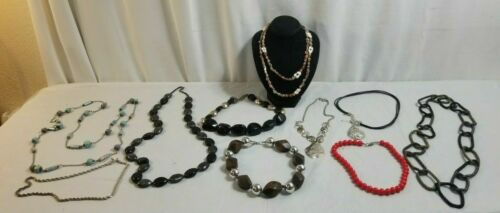 10 Piece NECKLACES Costume Jewelry Lot SHELLS, Black Large, Wood, Braided # 13