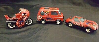VINTAGE 1980's BUDDY L SPIDERMAN SPIDER VAN SPIDER CAR SPIDER BIKE TOY DIE CAST