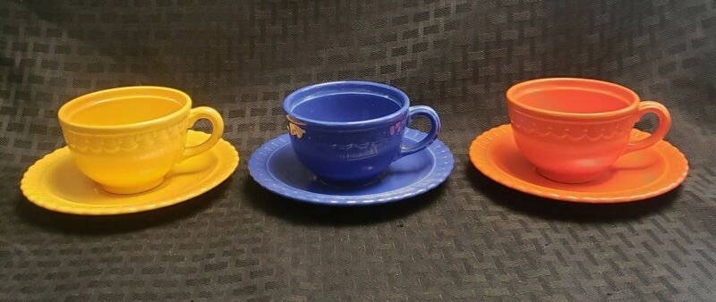 Vintage TS&T Taylor Smith & Taylor VISTOSA Set 3 Demitasse Cups & Saucer