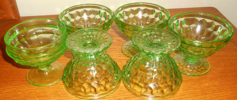 (6) VINTAGE JEANNETTE WINDSOR GREEN VASELINE DEPRESSION GLASS SHERBETS