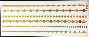 Tatuaggio-UNA-VOLTA-FLASH-COLLA-temporaneo-oro-6-pezzi-bracciale-piede-NUOVO