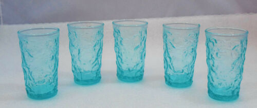 5 Vintage Aqua Blue 6 oz Juice Glasses - Nice Shape