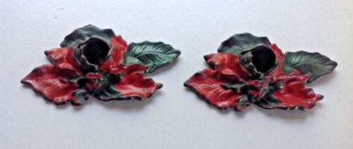 VINTAGE CHRISTMAS POINSETTIA CAST IRON CANDLE HOLDERS SET OF 2