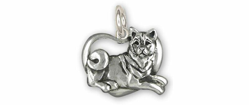Shiba Inu Jewelry Sterling Silver Handmade Shiba Inu Charm  SHB1-C