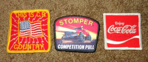 3 NOS VINTAGE PATCHES ENJOY COA-COLA COKE THIS IS CB COUNTRY STOMPER TRUCK PULL